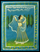 Dancing Tapestries - Textiles Framed Prints - Radhas Passion Framed Print by Sivaanan Balachandran