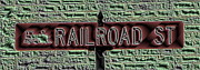 Road Prints - Railroad St Sign Print by Cathy Lindsey