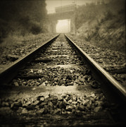 Sepia Metal Prints - Railway tracks Metal Print by Les Cunliffe