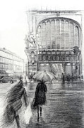 Umbrella Drawings Framed Prints - Rain Framed Print by Tatiana Ivchenkova
