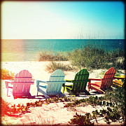 Florida Flowers Prints - Rainbow Beach Chairs Print by Chris Andruskiewicz