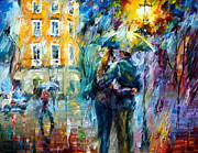 City Street Paintings - Rainy Date by Leonid Afremov