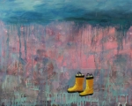 Feet Paintings - Rainy Day Galoshes by Guenevere Schwien