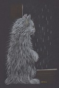 Cute Cat Pastels Prints - Rainy Day Print by Inga Klein