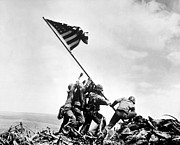 Ww2 Photo Posters - Raising The Flag On Iwo Jima Poster by War Is Hell Store