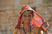 Indian Women Prints - Rajasthani woman  Print by Judith Katz