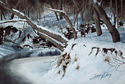 Snowy Trees Paintings - Rattlesnake Creek by Denny Dowdy