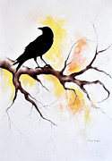 Blackbirds Drawings Posters - Raven 15 Poster by Maria Kitano