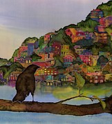 Water  Tapestries - Textiles Metal Prints - Raven and the Village  Metal Print by Carolyn Doe