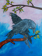 Blackbird Pyrography Metal Prints - Raven Cross Metal Print by Mike Holder