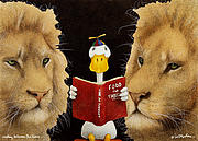 Reading Between The Lions... Print by Will Bullas