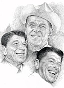 Ronald Reagan Drawings Prints - Reagan Print by Richard Johns