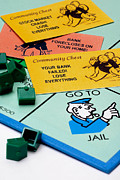 Board Game Posters - Recession Hits Monopoly Poster by Amy Cicconi