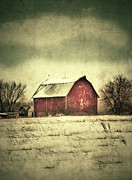 Red Barn In Winter Print by Jill Battaglia
