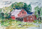 Barns Drawings Prints - Red barns Print by Nuria Vives