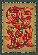 Hot Peppers Digital Art Framed Prints - Red Chilli Peppers Framed Print by Ym Chin