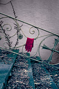 Staircase Railing Prints - Red Glove Print by Joana Kruse