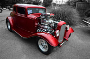 4th July Digital Art Framed Prints - Red Hotrod Framed Print by Stephen Lilly