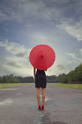 Derelict Photo Posters - Red Parasol Poster by Joana Kruse