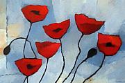 Poppies Art Paintings - Red Poppies by Lutz Baar