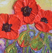 Print Of Poppy Metal Prints - Red Poppies Metal Print by Paris Wyatt Llanso