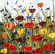 Jolina Anthony Prints - Red Poppifield Print by Jolina Anthony