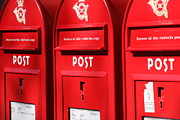 Postboxes Prints - Red Post Boxes Print by Jean Schweitzer