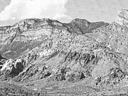Pencil Drawing Photo Posters - Red Rocks Nevada Poster by Frank Wilson