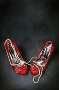 Necklace Posters - Red Shoes Poster by Joana Kruse
