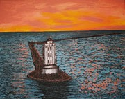 Lighthouse At Sunrise Posters - Red Sky at Night Poster by Irving Starr