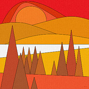 Minimal Landscape Digital Art - Red Sunset by Val Arie