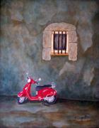 Mediterranean Style Framed Prints - Red Vespa Framed Print by Pamela Allegretto