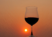 Canvas Wine Prints Prints - Red Wine at Sunset Print by Martin Belan