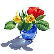 Flora Painting Prints - Red Yellow and Blue Print by Irina Sztukowski