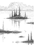 Waterscape Drawings Posters - Reflections Poster by Carl Genovese