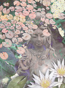 Buddhist Art Mixed Media Posters - Reflections Poster by Christopher Beikmann