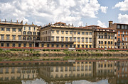 River Scenes Photo Prints - Reflections in the Arno River Print by Melany Sarafis
