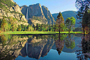  Cathedral Rock Prints - Reflections of Yosemite Falls Print by Lynn Bauer