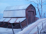 Snow On Barn Posters - Relic of the Past Poster by Glenda Barrett