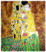Gustav Klimt Canvas Paintings - Reproduction of - The Kiss by Gustav Klimt by Ze  Di
