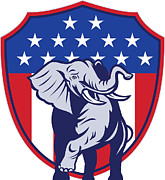 Stars Digital Art - Republican Elephant Mascot USA Flag by Aloysius Patrimonio