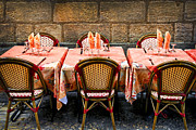 Cobblestone Framed Prints - Restaurant patio in France Framed Print by Elena Elisseeva