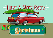 Christmas Card Digital Art Metal Prints - Retro Christmas Tree Station Wagon Metal Print by Aloysius Patrimonio