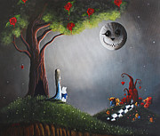 Cat And Moon Paintings - Return To Wonderland by Shawna Erback by Shawna Erback