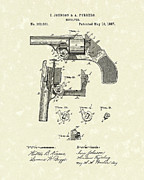 Weapon Drawings Framed Prints - Revolver 1887 Patent Art Framed Print by Prior Art Design