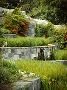 Green Digital Art Posters - Rice Garden Poster by Wim Lanclus