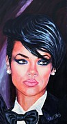 Singer Paintings - Rihanna by Shirl Theis