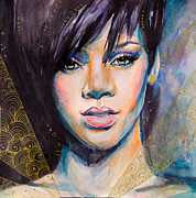 Celebrity Portraits Framed Prints - Rihanna Framed Print by Slaveika Aladjova