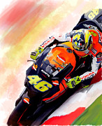 Valentino Rossi By David Pucciarelli Drawings - Ring Of Fire Valentino Rossi by Iconic Images Art Gallery David Pucciarelli
