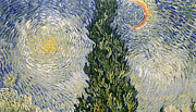 Close Up Painting Metal Prints - Road with Cypresses Metal Print by Vincent Van Gogh